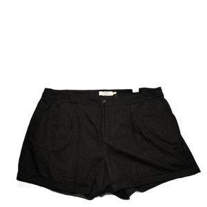 Torrid Plus Black Linen Blend Lined Shorts 24 NWT